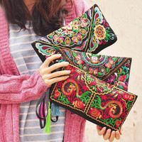 Floral Embroidery Long Wrist Wallet with Tassel