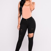 Fool For You Ankle Jeans - Black