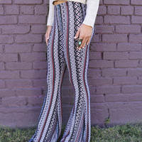 Tribal Waves Multi Print Stretchy Bell Bottoms