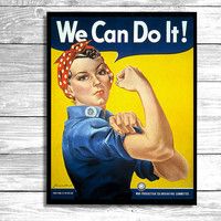 Rosie the Riveter Poster -  Yes we can do it ! Poster /  II World War Poster - Vintage  Poster / Wall Art-