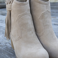 Muse  Fringe booties   Nude