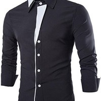 jeansian Men's Casual Slim Fit Stitching Long Sleeves Dress Shirts Tops 8732