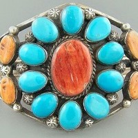 Old Navajo Turquoise and Spiny Oyster Bracelet | ElementalElegance - Jewelry on ArtFire
