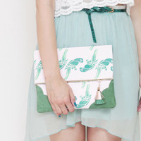 NATURA 5  / Hand printed cotton & Natural leather folded clutch bag - Ready to Ship
