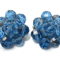 Blue Vintage Earrings AB Glass Cluster Beaded Clip on Back Mid Century Womens Jewelry