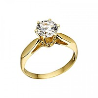 Solid 18K Yellow Gold Solitaire Wedding Engagement Ring Anniversary Ring for Women Gift For Men
