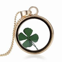 St Patricks Day Four Leaf Clover Shamrock Real Flower Necklace Pressed Botanical Circle Gold Jewelry Pendant Lucky Charm