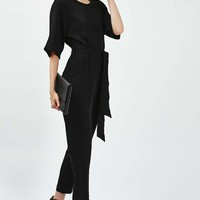 Belted Tapered Jumpsuit - Playsuits & Jumpsuits - Clothing