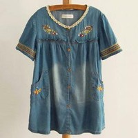Bohemian Embroidery Lace Neck Denim Shirts