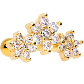 "16 Gauge 5/16"" Clear CZ Gold Tone Flowers Cartilage Tragus Earring"