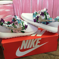 Blinged Out Nike Roshe Run Shoes White Floral Print Customized With Swarovski Crystal Rhinestones