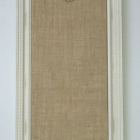 Ornate Distressed Frame ~ Burlap Push Pin Bulletin Board