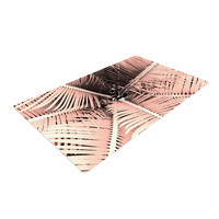 """Suzanne Carter """"Palm-Peach"""" Pink Black Woven Area Rug"""