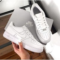 Air Force 1 NIKE Trending Unisex Personality Running Sport Shoes Sneakers Low Tops Pure White