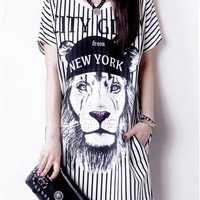 Lion Printed Stripe T-Shirt Dress