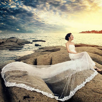 Unique Ivory White Lace Tulle Strapless Formal Beach Wedding Dress SKU-117023