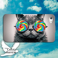 Cat Lollipop Candy Eyes Glasses Funny Cute Tumblr Hipster Custom iPhone Case for iPhone 4 and 4s and iPhone 5 and 5s and 5c Case