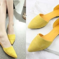 Fashion Summer Women Contracted Flat Loafers Shoes Women Yellow