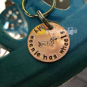 Doggie cart keychain, weenie keychain, dachshund with cart keychain, My weenie has wheels, Pet owner keychain, Pet owner gift