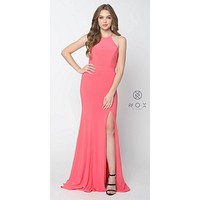 Watermelon Floor Length Prom Dress Cut Out Back with Slit