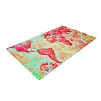 "Alison Coxon ""Oh The Places We'll Go"" World Map Woven Area Rug"