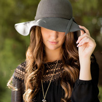 Luxe Wool Floppy Hat-Charcoal