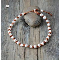 Pearl Leather Necklace Pearl Chokers Freshwater Pearl Leather Collar Necklace Classic Natural Pearls Knot Necklace Gift