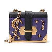 Prada Micro Cahier Purple and Black Celestial Crossbody 1BH058