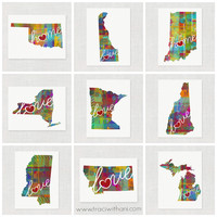 Watercolor-Style State Pride Wall Art Prints (Home & Love – 2 Sizes Available!) | traci (with an i).com