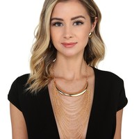 Gold Half Moon Chain Necklace Set