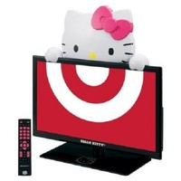 """Hello Kitty 19"""" LED TV Monitor and Stand. Gloss Black (720p 60hz)"""