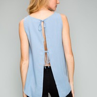 Woven Tie Top in Blue