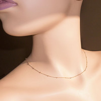 """Gold Filled Satellite Chain Layering Necklace, 16"""", 17"""", 18"""", 19"""", 20"""", 22"""", 24"""", 28"""", 32"""" Silver Saturn and Curb Chain w/ Lobster Clasp"""