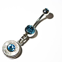 Glitz Your Hitch- Bullet Belly Button Ring - Baby Blue