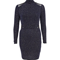 River Island Womens Navy turtle neck sheer insert dress