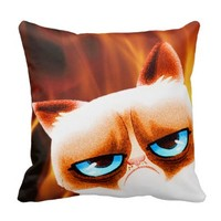 Funny Angry Cat Orange Pillow
