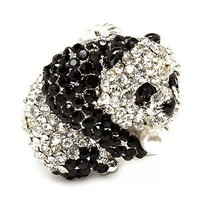 Panda with Pearl Black Clear Silver Tone Animal Stretch Adjustable Ring