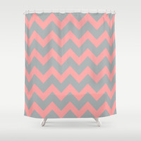 Chevron Gray Coral Pink Shower Curtain by BeautifulHomes   Society6