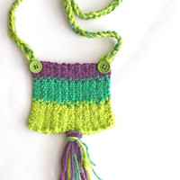 Green and purple, knit necklace, cotton necklace, fiber jewelry, green statement necklace, artistic jewelry