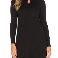 Black High Neck Hole Detail Knitted Dress