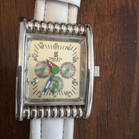 Womens Simon & Co Large Face Wrist Watch White Band In Working Condition