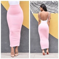 Summer women new Slim candy-colored skirts
