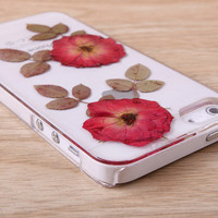 Red Rose real Pressed Flower iPhone case Galaxy case 056