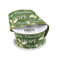 Holiday Greetings Linen Ribbon Wired Edge, 2-1/2-Inch, 20 Yards, Green