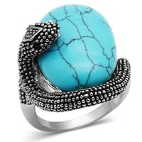 Middle Finger Ring 3W255 Rhodium Brass Ring with Synthetic in Sea Blue