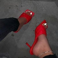 Women Sandals Square Toe Ladies Heel Mules Sexy Thin High Heels Sandals Slippers Female Fashion Woman Shoes