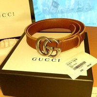 Gucci Belt Mens Leather Size 90 Brown