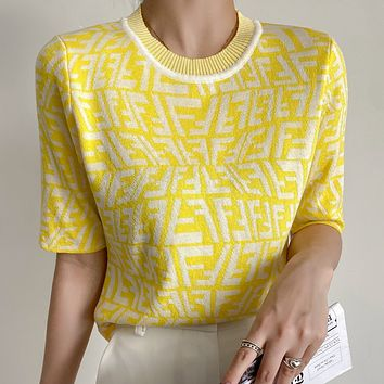 FENDI Embroidered Letters Ladies Knit Shirt Top Tee Yellow
