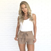 Perfect Timing Linen Shorts in Mocha