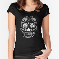 Skull T-shirt - Black Fitted Scoop Neck Women's T-shirt - Cotton Tshirt - Bloom Bloom Wear